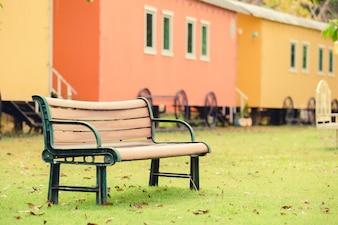 Wooden chair, garden chair in the garden