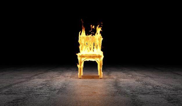 Деревянный стул в пламени огня на бетонном полу со световым эффектом