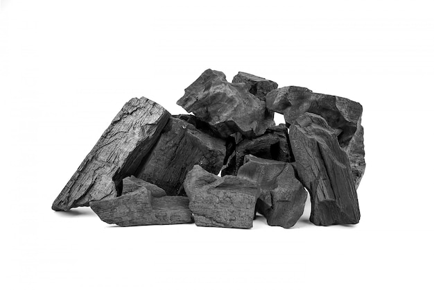 Wooden charcoal isolated on white background.