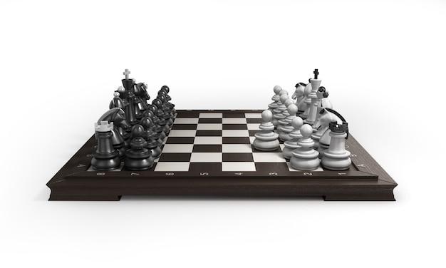 흰색 배경에 고립 된 체스 판에 배열하는 목조 체스