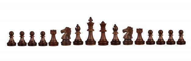 Wooden chess figures