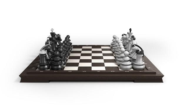 Деревянные шахматы лежат в исходном положении на шахматной доске на белом фоне