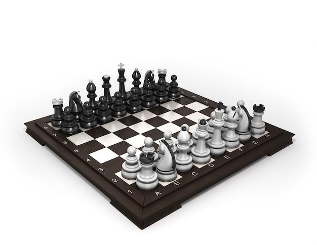 Деревянные шахматы лежат в исходном положении на шахматной доске, изолированной на белом