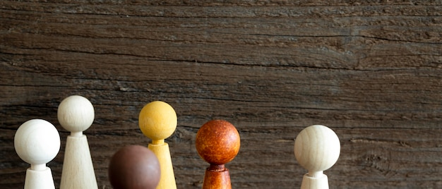 Wooden chess pieces close-up