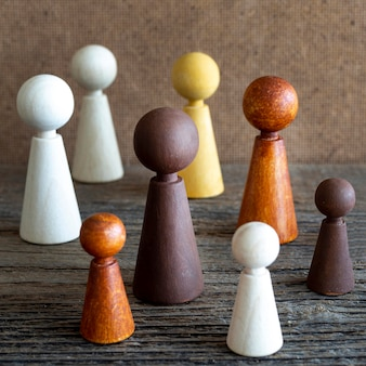Wooden chess pieces on table