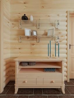 통나무 집 인테리어 장식이있는 옷장 선반 위의 벽에 나무 서랍장