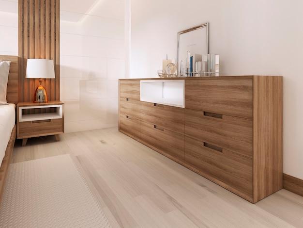 스칸디나비아 침실에 틈새가 있는 나무 서랍장. 3d 렌더링