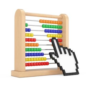 흰색 배경 3d 렌더링에 픽셀 아이콘 손으로 계산을 배우기 위한 나무 어린이 주판 장난감