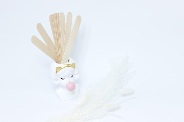 Wooden chopsticks on a white background