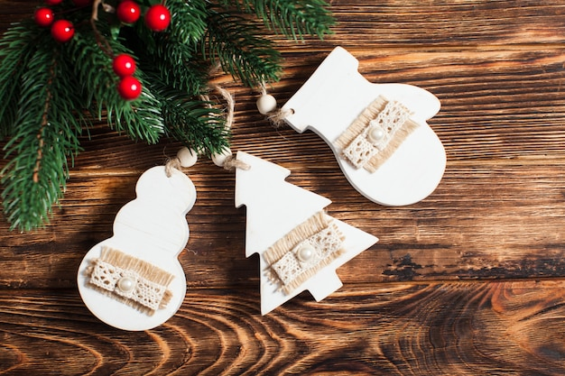 Wooden christmas decor in shabby chic style
