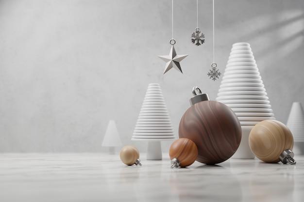 グリーティングカード、メリークリスマスと新年あけましておめでとうございますのコンセプト、テンプレートとモックアップのための木製のクリスマスツリー。