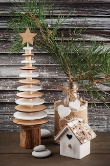Wooden christmas tree in scandinavian style