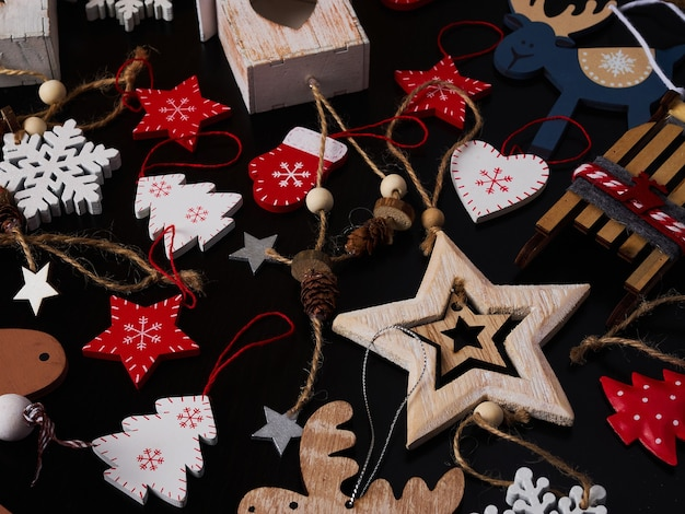 Wooden christmas tree toy collage background