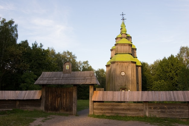 Wooden church in the park