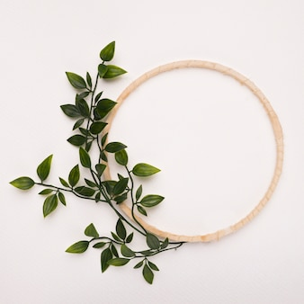 Wooden circle frame with green artificial leaves on white backdrop
