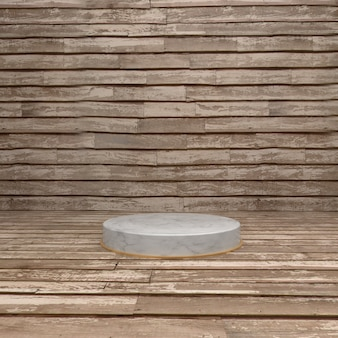 Wooden circle stage for product showcase