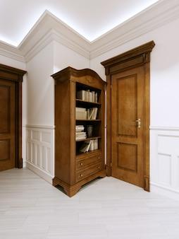 本と廊下の隣のドアが付いている木製の古典的な本棚。 3dレンダリング。