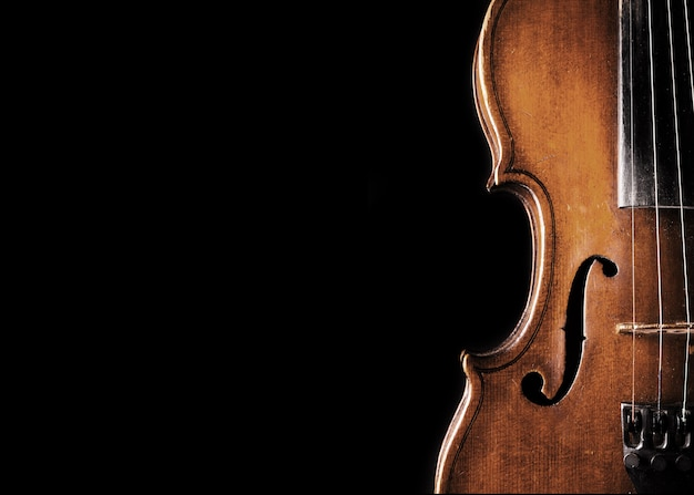 Wooden classic violin isolated on  background
