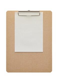 빈 종이 흰색 배경에 고립 된 나무 클립 보드