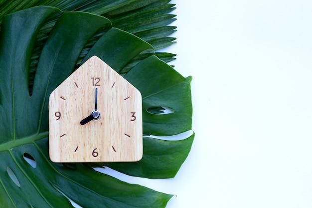 Деревянные часы на зеленых листьях