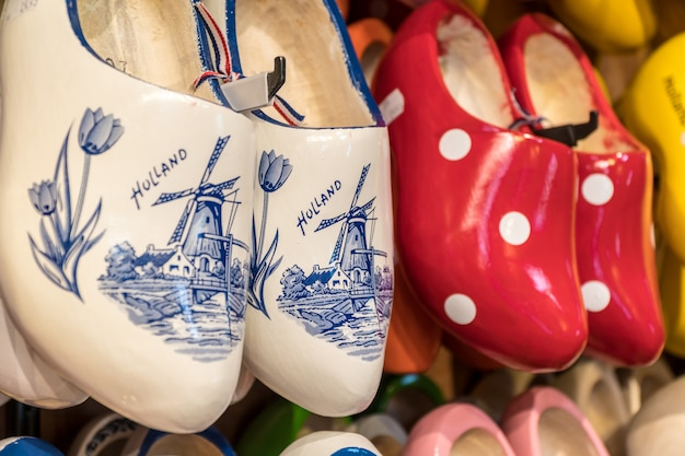 Wooden clogs with picture of windmill in souvenir store