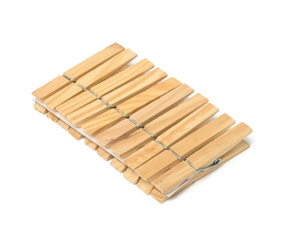 Wooden clothespins isolated on white background, set