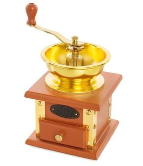 白い背景で隔離の金メッキ金属と木製のコーヒーグラインダー
