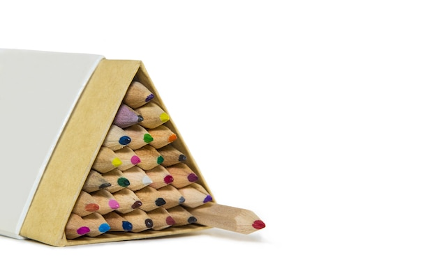 Wooden colored pencils in triangular packaging