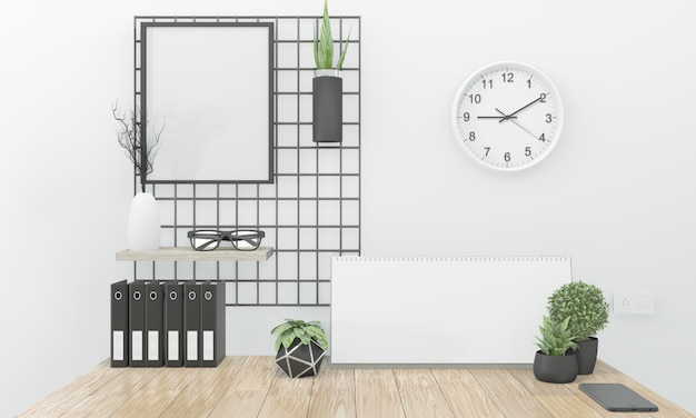 Wooden comfortable office and decoration on white room zen style. 3d rendering