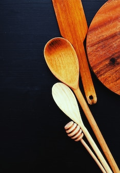 Wooden cooking equipment on kitchen counter