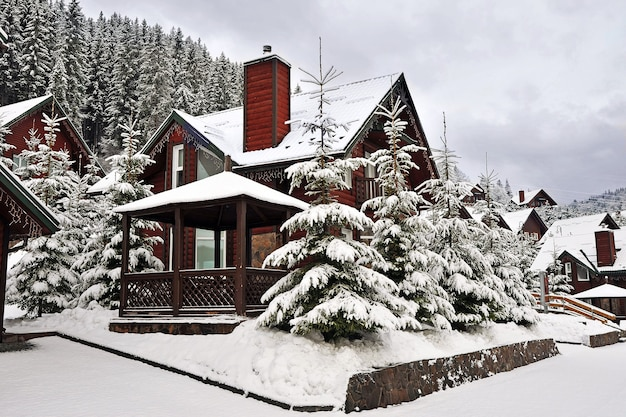 覆われた山のホリデーリゾートの木造別荘ホリデーハウス