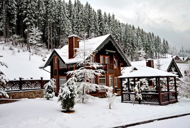 Wooden cottage holiday house in mountain holiday resort