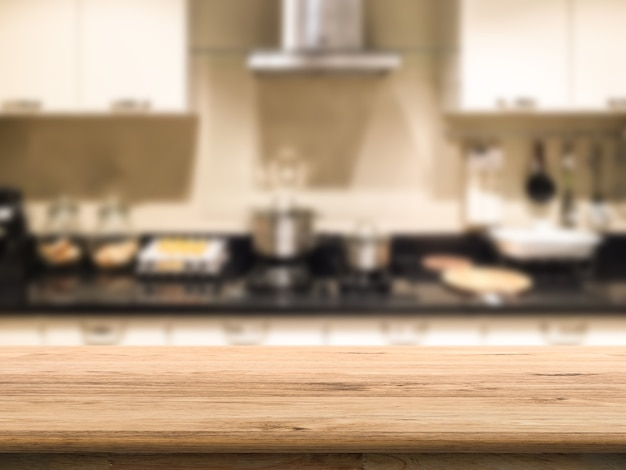 Wooden counter with kitchen background