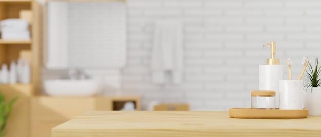 Деревянная столешница с набором керамических контейнеров для ванны над современным интерьером ванной комнаты 3d-рендеринга