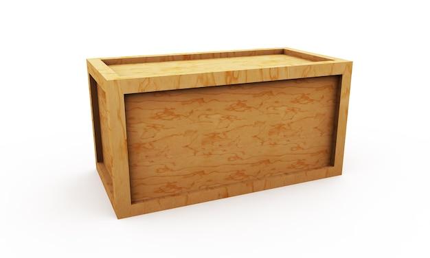 Деревянный ящик 3d иллюстрации, изолированные на белом фоне