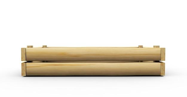 Пустая перспектива деревянный ящик и фронт, изолированные на белом фоне. простой 3d визуализации