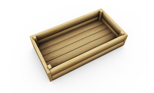 Пустая перспектива деревянный ящик и фронт, изолированные на белом фоне. легко редактируются для вашего дизайна