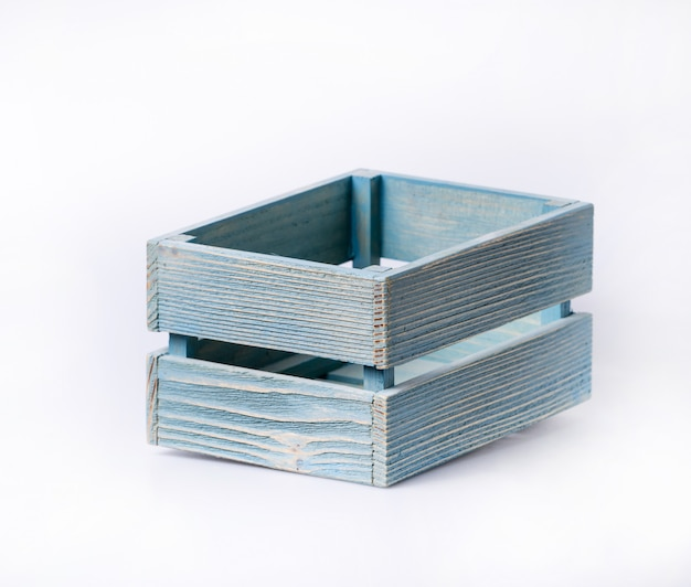 Wooden crate on white background isolated