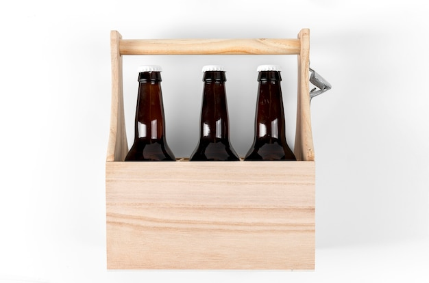 Wooden crate with beer bottles