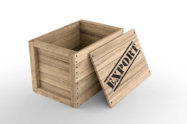 Деревянный ящик с печатным текстом экспорта на белом фоне. 3d-рендеринг
