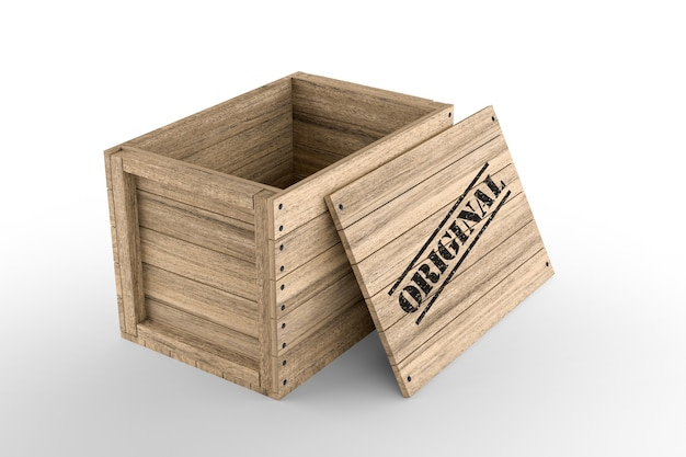 Wooden crate with printed original text on white background. 3d rendering