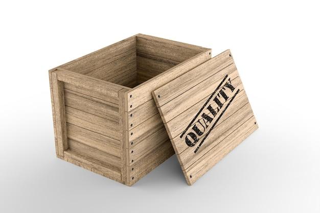 Деревянный ящик с качественным печатным текстом на белом фоне. 3d-рендеринг
