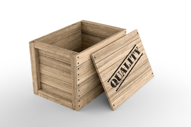 Wooden crate with printed quality text on white background. 3d rendering