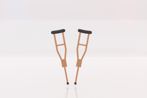 Wooden crutches tools on white background
