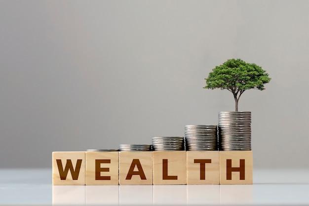 木とコインの山のある富という言葉が成長する木製の立方体投資のアイデア生命保険とヘルスケア