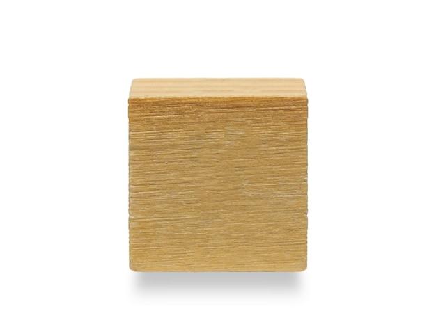 나무 큐브, 흰색 배경에 고립 된 나무 기하학적 모양 큐브