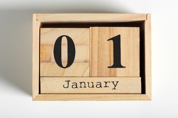 Wooden cubes with date 1st of january