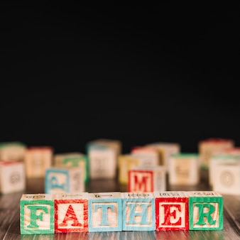 Wooden cubes with father title