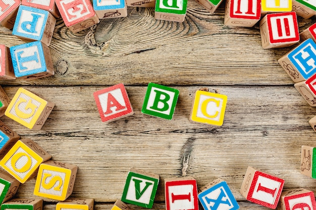 Wooden cubes with letters abc