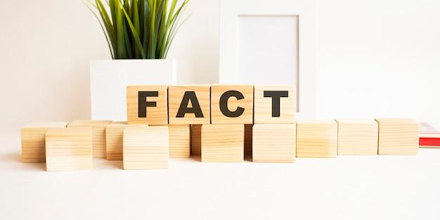 흰색 테이블에 글자와 나무 큐브. 단어는 fact입니다. 사진 프레임, 집 식물 흰색 배경입니다.